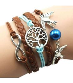 Manual Multi layer Leather Cord Bracelet Love Bird Bead Bangle