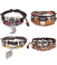 4 Styles Bracelet Synthetic Leather Weave Braid Bracelet