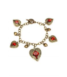 Women's Retro Vintage Faux Gem Love Heart Hollow Bracelet