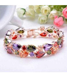 Fashion Rose Gold Plated Multicolor Zircon Bracelet