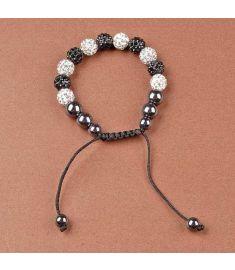 Women Rhinestone Hematite Weaving Rope Round Ball Bracelets