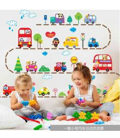 Animals Cars Trucks Bus Wall Sticker for Kids Playroom