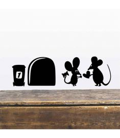 3d Funny mouse hole wall stickers decals