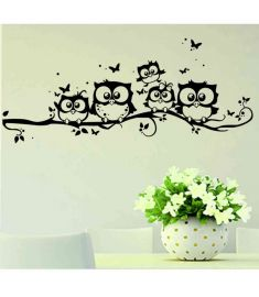 Cute Cartoon Owl tree bridge wall stickers