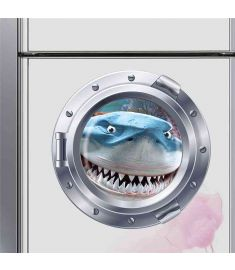 Shark fish submarine portholes wall stickers