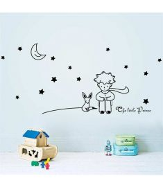 Little Prince With Fox Moon Star home decor wall sticker