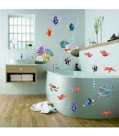 Removable Wall Stickers sea fish cartoon