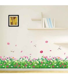 Nature Colorful Flowers Grass Wall Sticker Home Decor