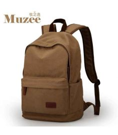 Male Canvas Backpack College Student School Backpack