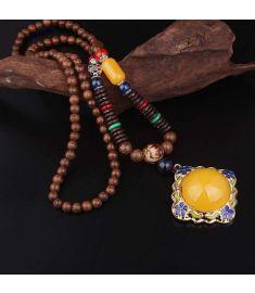Cloisonne enamel vintage pendants jewelry,sandalwood Buddha beads vintage necklace