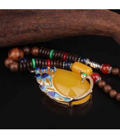 Cloisonne enamel peacock vintage necklace pendants ,sandalwood Buddha beads necklace