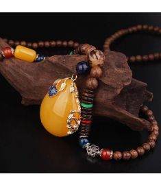 Cloisonne enamel water drop vintage necklace pendants ,sandalwood beads necklace
