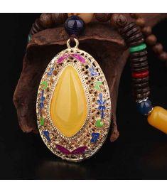 Cloisonne enamel vintage necklace pendants ,sandalwood Buddha beads necklace