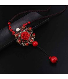 new fashion ethnic necklace,lapis rose flowers pendants necklace vintgae jewelry red glass stones sweater necklace