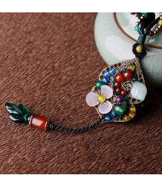 fashion Chinese wind ethnic jewelry nature stones vintage necklace ,new ethnic agate necklace,handmade glass glazed necklace