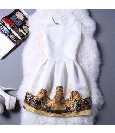 Cartoon Castle Summer Sleeveless Girls Print Dress Knee Length Princess A-Line Dress Clothes For Kids 6 to 12 years Old Kids