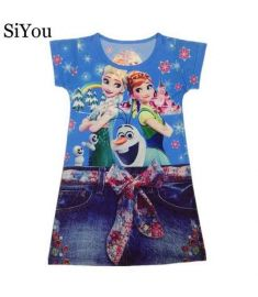 3Y-10Y Hot Sale Summer Girl Dress Elsa Anna Print White Red Blue Color Girl Tank Party Dress Children Clothing Children Dresses