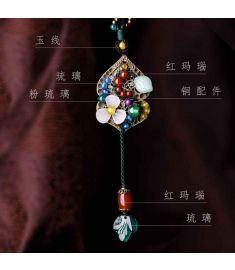 fashion Chinese wind ethnic jewelry nature stones vintage necklace ,new ethnic agate necklace,handmade glass glazed necklace