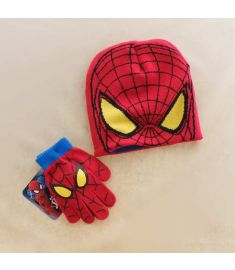 Autumn Winter Girls Boys Hat Set Cartoon Spider Man Warm Cap knitted Hat Gloves Children Hat Sets