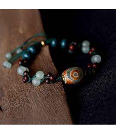 Chinese wind Lubolar red sandalwood ethnic jewelry vintage bracelet ,new Aventurine Quartz bracelet,handmade Day Beads bracelet