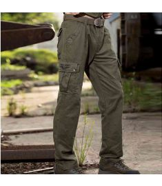 Military Clothing Male Pants Full Length Cotton Pockets Thick Straight Embroidered Logo Men's Clothing