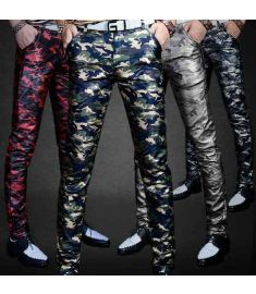 Men's Autumn Leather Pants Slim Colorful
