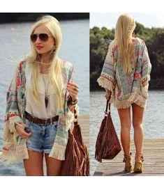 Top summer chiffon blouse Retro Boho Floral Lace Cardigan Kimono