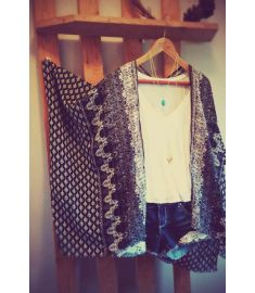 Summer Women Fashion Retro Print Cardigan Half Sleeve Chiffon Kimono