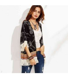 Bohemia Clothing Large Size Blouse Print Kimono Beach Sunscreen Tassel Cardigan Fringe