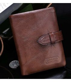 Brown Design Male Cowhide Short Wallet Leather Casual Retro Men Wallets