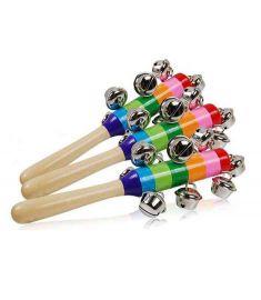 Retail Baby Rainbow Toy kid Pram Crib Handle Wooden Activity Bell Stick Shaker Rattle