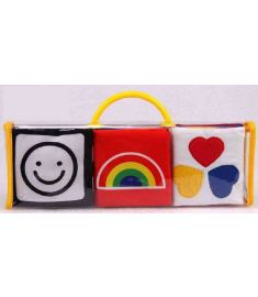 Black Red Soft Mamas Papas New Baby Toy 3 Pcs Cute Handmade Cloth Fabric Book Toys