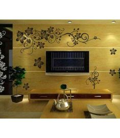 hot selling 130*80cm classical black flower wall decals zooyoo027s living room floral wall stickers home decoration wall arts