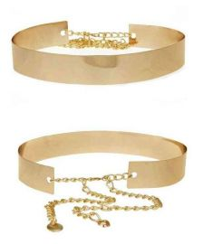 Women Mirror Full Metal Wide Waist Belt Gold Plate Bling Metallic Waist Band 2 Color