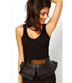 Cintos femininos Faux Leather Peplum Plate Detail Waist Belt