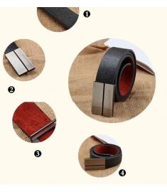 Smooth buckle Style leather belt men