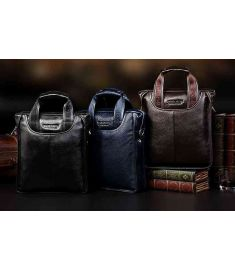 GENUINE LEATHER Cowhide Shoulder Men's Bag