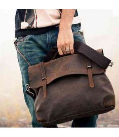 Designer Brand  Man's  casual Vintage Canvas Leather Bags