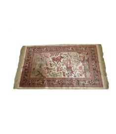 Silk Hunting Tapestry Semi Antique Textile Art  26 x 42 inches