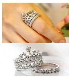 Elegant Austrian Crystal Crown Rings Sparkling Cute CZ Diamond