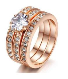 Crystal 3 Round 18K Rose Gold Plated Ring Genuine  Crystals