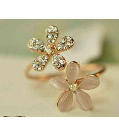 Opal Double Daisy Flower Adjustable Ring