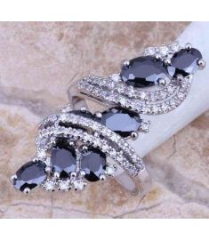 Black Sapphire White Topaz 925 Sterling Silver Overlay Ring For Women