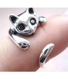 Silver Plated Kitten Cute Cat Ring With Crystal Eyes