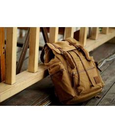 Genuine Leather Canvas Backpack