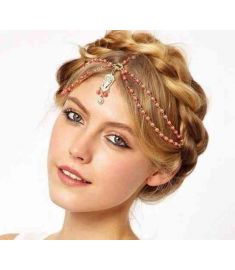 Pearl Beaded Hair Jewelry Crystal Charms Headpiece