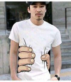 Cotton Funny Big Hand Grab Printed Short Sleeve T Shirts
