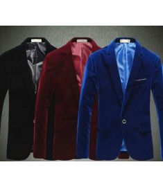 Velvet Blazer Men Blue Red