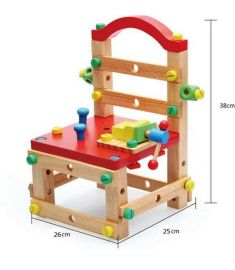 Infant Beech Wooden Children Nut Combination of Model Building Kits Blocks Tool Chair