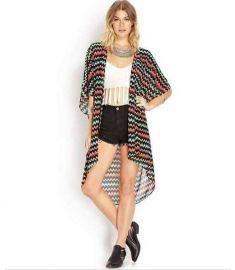 Woman's Blouses Fashion Wave Stripe Shirt Chiffon Kimono